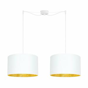 Biele dvojité stropné svietidlo s vnútrajškom v zlatej farbe Sotto Luce Mika
