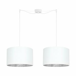 Biele dvojité stropné svietidlo s vnútrajškom v striebornej farbe Sotto Luce Mika