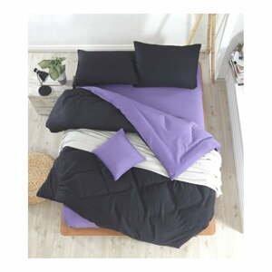 Čierno-fialové obliečky s plachtou na dvojlôžko Permento Masilana, 200×220 cm