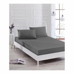 Set sivej elastickej plachty a 2 obliečok na vankúše na jednolôžko Basso Gris, 160 × 200 cm