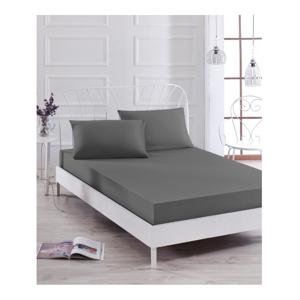 Set sivej elastickej plachty a obliečky na vankúš na jednolôžko Basso Gris, 100 × 200 cm