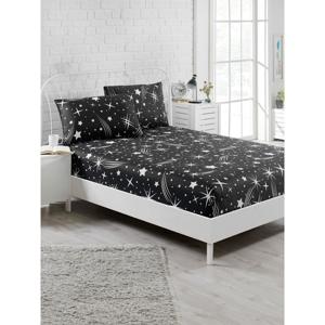 Set čiernej elastickej plachty a 2 obliečok na vankúše na jednolôžko Starry Night, 160 × 200 cm