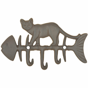 Liatinový nástenný háčik s motívom ryby a mačky Esschert Design