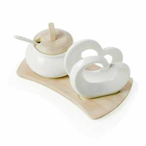 Sada cukorničky a držiaka na obrúsky z porcelánu a bambusu Brandani Double Heart