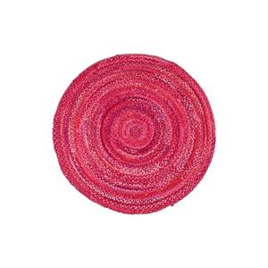 Ružový bavlnený okrúhly koberec Eco Rugs, ø150cm