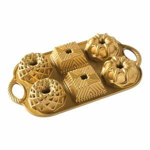 Forma na 6 minibáboviek v zlatej farbe Nordic Ware Minimix, 800 ml