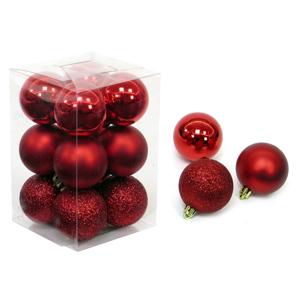 Sada 12 vianočných ozdôb v červenej farbe Unimasa Navidad