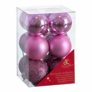 Sada 12 vianočných ozdôb vo fialovej farbe Unimasa Navidad