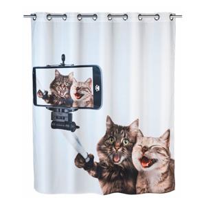 Sprchový záves s protiplesňovou povrchovou úpravou Wenko Selfie Cat, 180×200 cm
