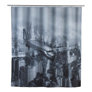 Sivý sprchový záves Wenko Led Plane, 180×200 cm