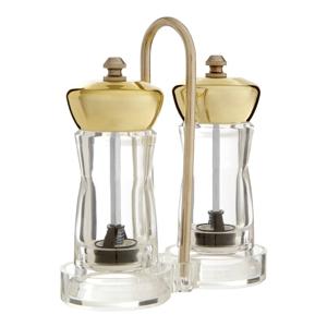 Set mlynčeka na soľ a koreniny s detailom zlatej farby so stojanom Premier Housewares Mill
