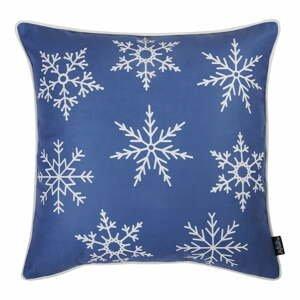 Modrá obliečka na vankúš s vianočným motívom Apolena Honey Snowflakes, 45×45 cm