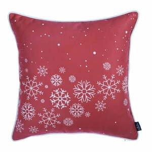 Červená obliečka na vankúš s vianočným motívom Apolena Honey Snowflakes, 45×45 cm
