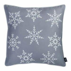 Sivá obliečka na vankúš s vianočným motívom Apolena Honey Snowflake, 45×45 cm