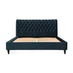 Námornícky modrá posteľ z bukového dreva s čiernymi nohami Vivonita Allon, 180 × 200 cm