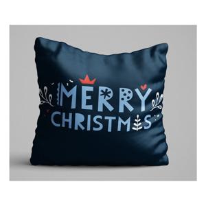 Modrý vankúš Merry Christmas, 45 x 45 cm