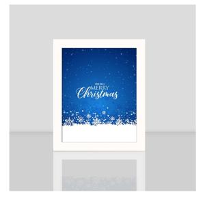 Obraz v bielom ráme Blue Merry Christmas, 23,5 x 28,5 cm