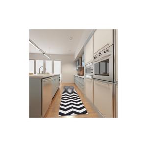 Vysokoodolný kuchynský koberec Webtappeti Optical Black White, 60 x 140 cm