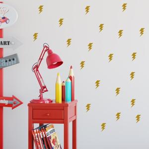 Sada žltých samolepiek na stenu North Carolina Scandinavian Home Decors Lightningh