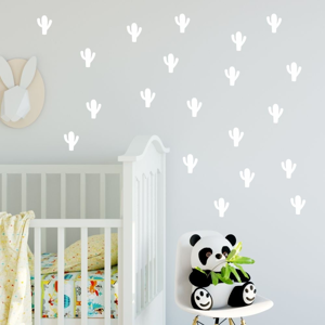 Sada bielych samolepiek na stenu North Carolina Scandinavian Home Decors Cacti