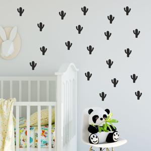 Sada čiernych samolepiek na stenu North Carolina Scandinavian Home Decors Cacti