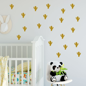 Sada žltých samolepiek na stenu North Carolina Scandinavian Home Decors Cacti