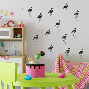 Sada čiernych samolepiek na stenu North Carolina Scandinavian Home Decors Flamingo
