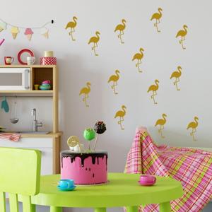 Sada žltých samolepiek na stenu North Carolina Scandinavian Home Decors Flamingo