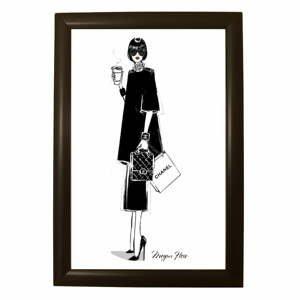 Plagát v čiernom ráme Piacenza Art Chanel, 33,5 x 23,5 cm