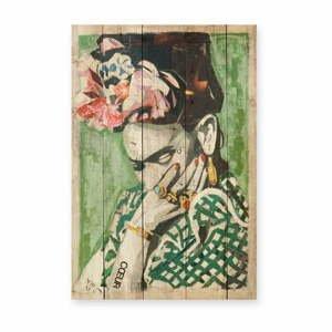 Nástenná ceduľa z borovicového dreva Madre Selva Frida Coeur, 40x60 cm