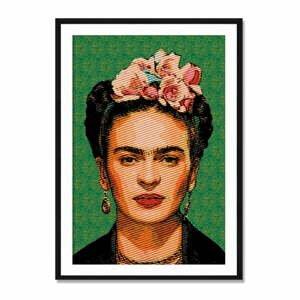 Nástenný obraz zo sambového dreva Madre Selva Frida Draw, 40×60 cm