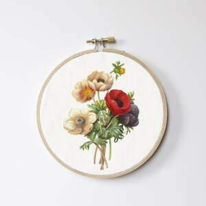 Nástenná dekorácia Surdic Stitch Hoop Flowers, ⌀ 27 cm