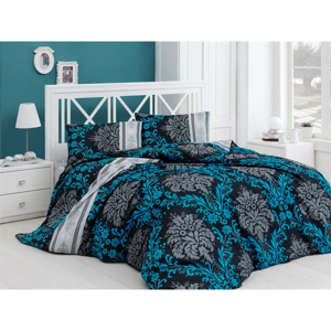 Modré obliečky na dvojlôžko s prímesou bavlny Ale×a, 240 x 220 cm