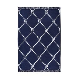 Modro-biely obojstranný koberec Rope, 140×215 cm