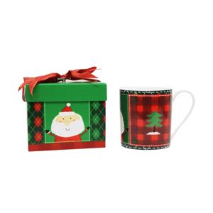 Hrnček z kostného porcelánu s vianočným motívom Silly Design Santa & Christmas tree, 350 ml