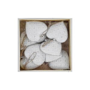 Sada 10 bielych kovových vianočných ozdôb z dreva v tvare srdiečka Ego Dekor X-mass