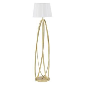 Biela stojaca lampa s konštrukciou v zlatej farbe Mauro Ferretti Circle