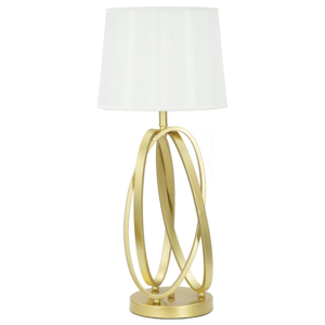 Biela stolová lampa s konštrukciou v zlatej farbe Mauro Ferretti Circle