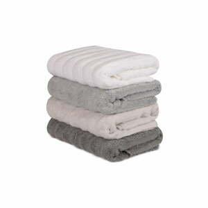 Sada 4 hnedo-bielych bavlnených uterákov Sofia, 50 × 90 cm