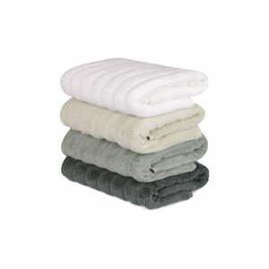 Sada 4 zeleno-bielych bavlnených uterákov Sofia, 50 × 90 cm
