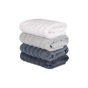 Sada 4 sivo-bielych bavlnených uterákov Sofia, 50×90cm
