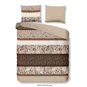 Hnedé obliečky na jednolôžko z bavlny Good Morning Safari, 140×200 cm