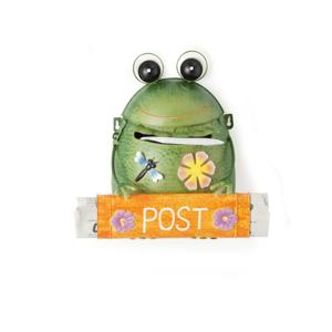 Oranžová poštová schránka z kovu v tvare žaby Brandan Post