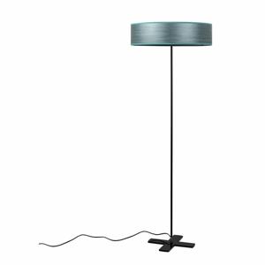 Sivomodrá voľne stojacia lampa s tienidlom z prírodnej dyhy Bulb Attack Ocho