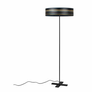 Tmavomodrá voľne stojacia lampa s tienidlom z prírodnej dyhy Bulb Attack Ocho