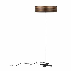 Tmavohnedá voľne stojacia lampa s tienidlom z prírodnej dyhy Bulb Attack Ocho