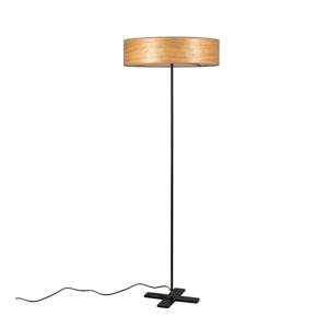 Svetlohnedá voľne stojacia lampa s tienidlom z prírodnej dyhy Bulb Attack Ocho