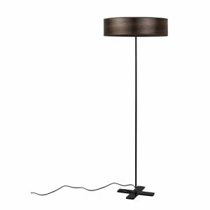 Tmavohnedá voľne stojacia lampa s tienidlom z prírodnej dyhy Bulb Attack Ocho Clear