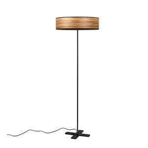 Svetlohnedá voľne stojacia lampa s tienidlom z prírodnej dyhy Bulb Attack Ocho Clear