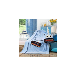 Svetlomodrá detská deka z mikrovlákna DecoKing Cuties Owls, 110 x 160 cm